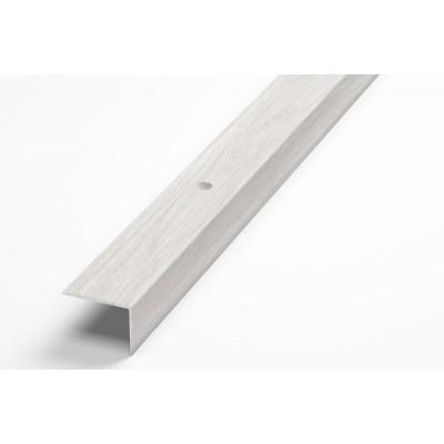 Порог-угол Д5 20х20мм алюминиевый декор ясень белый №106 длина 0,9м