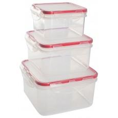 Комплект герметичных контейнеров для продуктов Amore квадратных 0,4 л + 0,7 л + 1,2 л сочный томат
