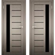 Дверное полотно АМАТИ-04 Дуб дымчатый ПО-600 черное стекло