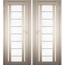 Дверное полотно АМАТИ-11 дуб беленый экошпон ПО-900 белое стекло