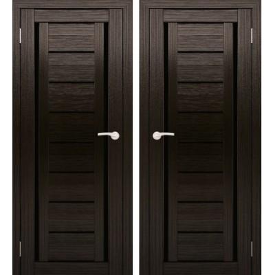 Дверное полотно АМАТИ-06 венге экошпон ПО-600 черное стекло