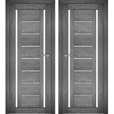 Дверное полотно АМАТИ-04 дуб шале-графит экошпон ПО-700 белое стекло