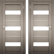 Дверное полотно Амати-12 Дуб дымчатый экошпон ПО-800 белое стекло