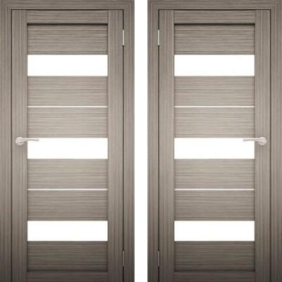 Дверное полотно АМАТИ-12 Дуб Дымчатый экошпон ПО-900 белое стекло