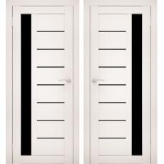 Дверное полотно АМАТИ-04 эшвайт экошпон ПО-600 черное стекло