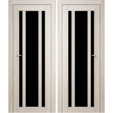 Дверное полотно АМАТИ-11 дуб беленый экошпон ПО-900 черное стекло