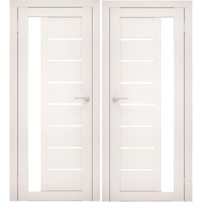 Дверное полотно АМАТИ-04 эшвайт экошпон ПО-700 белое стекло