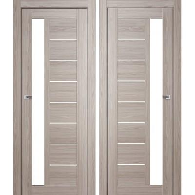 Дверное полотно АМАТИ-04 дуб дымчатый экошпон ПО-800 белое стекло
