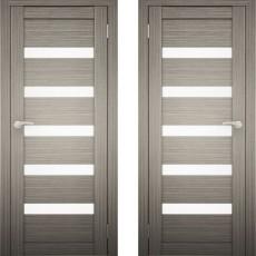 Дверное полотно АМАТИ-03 дуб дымчатый экошпон ПО-800 белое стекло