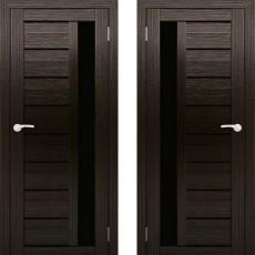 Дверное полотно АМАТИ-04 венге экошон ПО-600 черное стекло