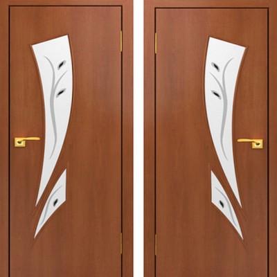 Дверное полотно остекленное С-02 Итальянский орех с фьюзингом ПОФ-700