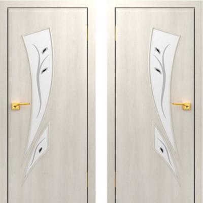 Дверное полотно остекленное с фьюзингом С-02 Дуб беленый ПОФ-600