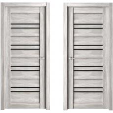 Дверь ЭКО Deluxe 306 бетон светлый ДО-700 черное стекло