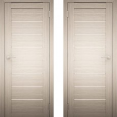 Дверное полотно АМАТИ-01 дуб беленый экошпон ПО-800 белое стекло
