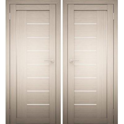 Дверное полотно АМАТИ-07 дуб беленый экошпон ПО-700 белое стекло