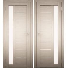 Дверное полотно АМАТИ-04 дуб беленый экошпон ПО-800 белое стекло