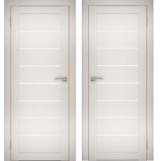 Дверное полотно АМАТИ-01 эшвайт экошпон ПО-900 белое стекло