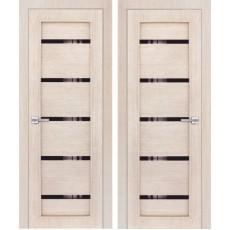Дверь 3D покрытие ЭКОЛайт 1 Капучино ДО-600 черное стекло