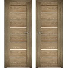 Дверное полотно АМАТИ-01 дуб шале-натуральный экошпон ПО-600 белое стекло
