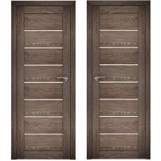 Дверное полотно АМАТИ-01 дуб шале-корица экошпон ПО-600 белое стекло