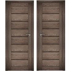 Дверное полотно АМАТИ-01 дуб шале-корица экошпон ПО-600 черное стекло