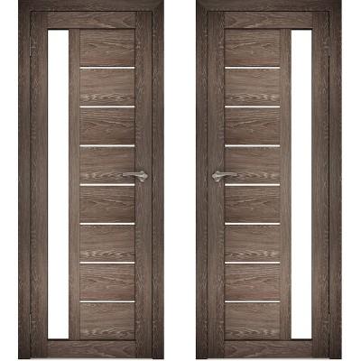 Дверное полотно АМАТИ-04 дуб шале-корица экошпон ПО-700 белое стекло
