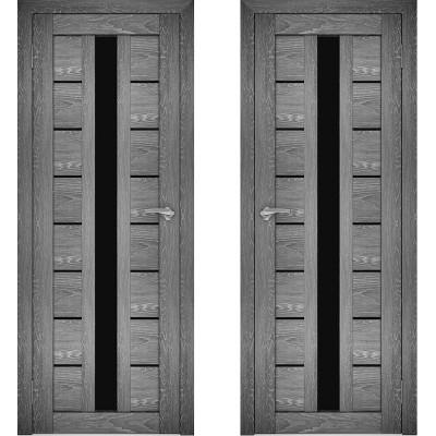Дверное полотно АМАТИ-17 дуб шале-графит экошпон ПО-900 черное стекло