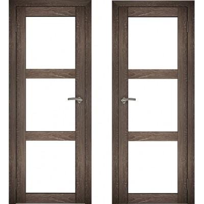 Дверное полотно АМАТИ-20 дуб шале-корица экошпон ПО-600 белое стекло