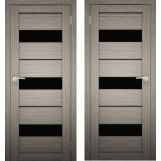 Дверное полотно АМАТИ-12 дуб дымчатый экошпон ПО-900 черное стекло