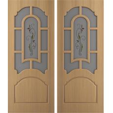 Дверь шпонированная Татьяна дуб ПО-700 художественное стекло