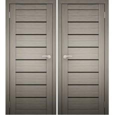 Дверное полотно АМАТИ-01 дуб дымчатый экошпон ПО-800 черное стекло
