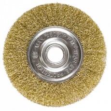Щетка для УШМ 100 мм, посадка 22,2мм, плоская, латунированная витая проволока MATRIX 74648
