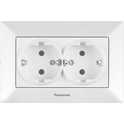 Розетка двойная с заземлением белая WKTC02052WH-BY Panasonic