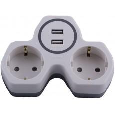Сетевой разветвитель STEKKER на 2 выхода с заземлением 250V, 16A и 2-мя USB на 2,4А ADP146-14-20