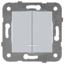 Выключатель 2-клавишный с подсветкой серебро WKTT00102SL-BY Panasonic