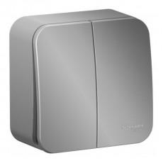 Выключатель Schneider Electric Blanca BLNVA105013 двухклавишный с изолирующей пластиной (алюминий)