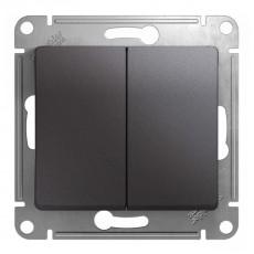 Выключатель двухклавишный Schneider Electric Glossa GSL001351 (10 А, под рамку, скрытая установка, графит)