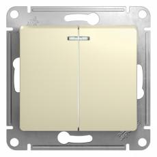 Механизм выключателя 2-клавишный СП GLOSSA 10А IP20 10AX с подсветкой бежевый SchE GSL000253
