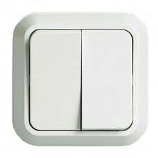 """Выключатель двухклавишный открытой установки IP20 10А, белый """"Ладога"""" TDM"""