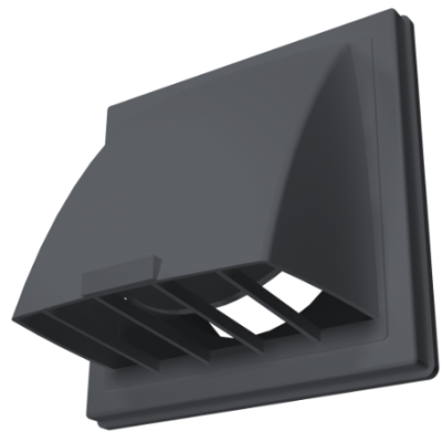Выход стенной вытяжной с обратным клапаном 150х150 с фланцем D100 серый, 1515К10ФВ