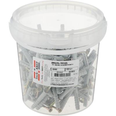 Дюбель-гвоздь 6х40 потайная манжета (полипропилен) (150 шт) - ведро Tech-Krep 101466