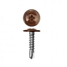 Саморез 4,2х16 (RAL8017) коричневый шоколад по металлу полусфера с пресс-шайбой, сверло (30 шт)