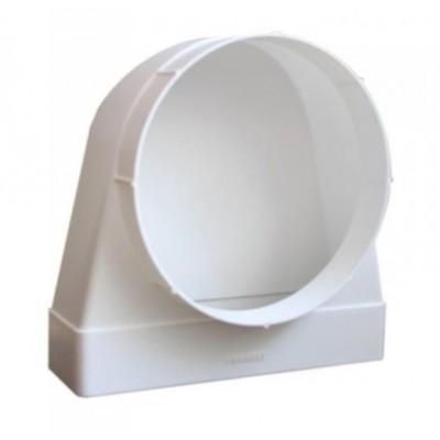 Соединитель угловой 90°, плоского воздуховода с круглым пластик 511СК10КП 55х110/D100