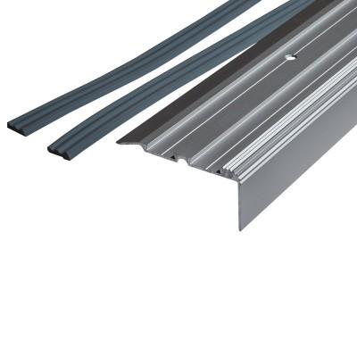 Порог-угол Д02 68х30,8мм алюминиевый анодированный с 2 резиновыми вставками серебро (НЕ) длина 0,9м
