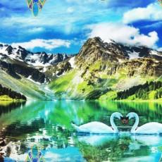Декоративное панно Белые лебеди 134х196 (4 листа)