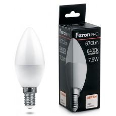 Лампа светодиодная 7.5W 230V E14 6400K C37, LB-1307 38055