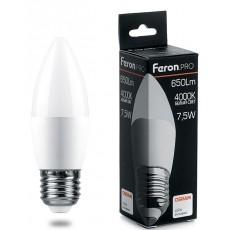 Лампа светодиодная 7.5W 230V E27 4000K C37, LB-1307 38057