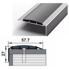 Порог-угол Д70 57,7х27мм алюминиевый анодированный Серебро вставка серая (НЕ) длина 1,35м