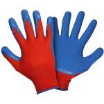 Перчатки нейлоновые  с рифленым латексным  покрытием (красно-синий)