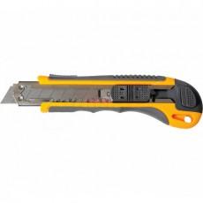 Нож 25мм пластмассовый обрезиненный автомат 6 лезвий 9005121